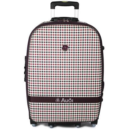 【Audi 奧迪】20吋方格紋6輪360度~Audi旅行箱行李箱M-61520-紅