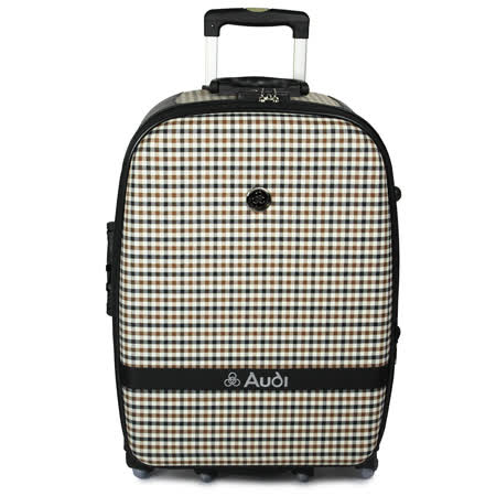 【Audi 奧迪】25吋方格紋6輪360度~Audi旅行箱行李箱M-61525-黑