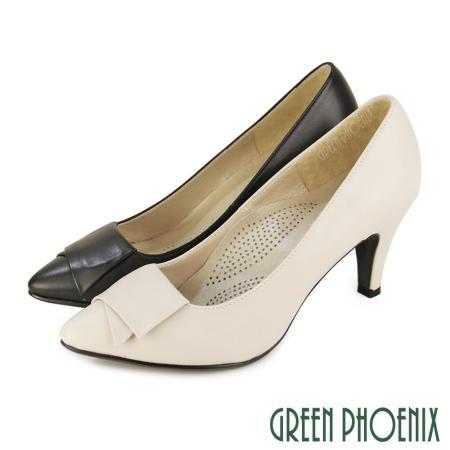 【GREEN PHOENIX】素雅典藏幾何圖形全真皮尖頭高跟鞋