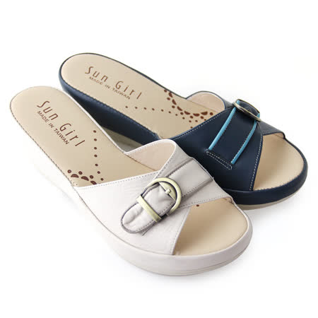 【GREEN PHOENIX】溫柔清新寬版交叉金屬裝飾扣撞色全真皮厚底拖鞋