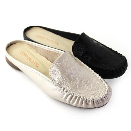 【GREEN PHOENIX】壓花紋全真皮平底前包後空拖鞋