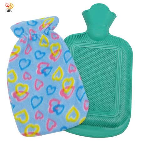 月陽時尚花紋2升冰熱兩用保暖水袋熱水袋送絨布套超值2入(00182)