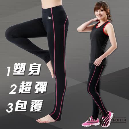 【遊遍天下】MIT台灣製3D彈力塑身輕薄款吸排機能壓力褲P110黑色