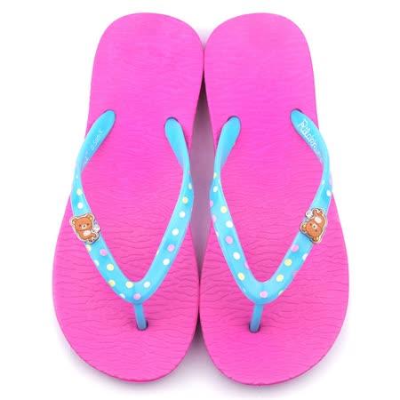童鞋城堡-拉拉熊 女款 輕量夾腳拖鞋KM26100-桃