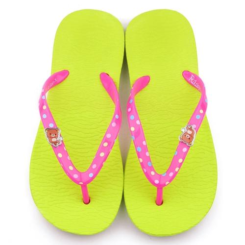 童鞋城堡-拉拉熊 女款 輕量夾腳拖鞋KM26100-綠