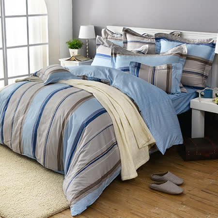 義大利La Belle《悠閒時刻》加大四件式防蹣抗菌舖棉兩用被床包組