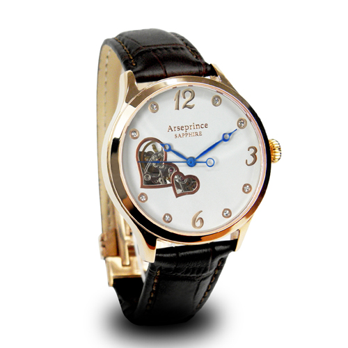 ~Arseprince~心心相印鏤空 機械腕錶~棕色