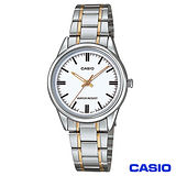 CASIO卡西歐 簡潔風格金系鋼帶女錶-白 LTP-V005SG-7A