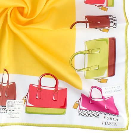 FURLA 時尚包款100%純棉帕巾-黃色