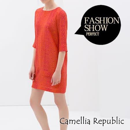 【C.R.】紅色豹紋圖騰洋裝