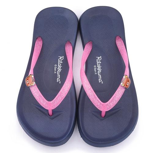 童鞋城堡-拉拉熊 女款 輕量夾腳拖鞋KM26102-藍