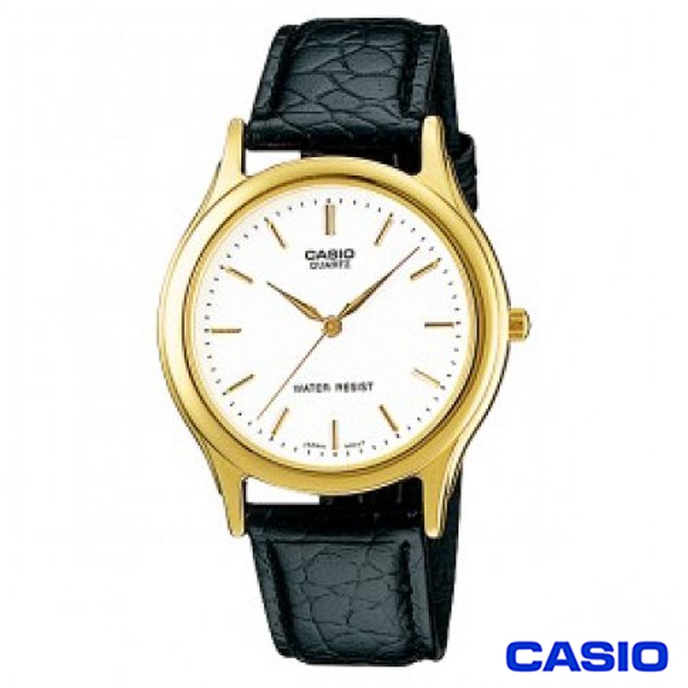 CASIO卡西歐 簡潔金系風格皮帶男錶~白 MTP~1093Q~7A