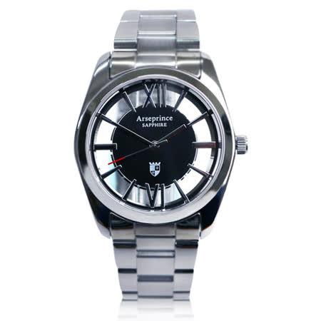 【Arseprince】羅馬假期雙面鏤空時尚中性錶-黑銀