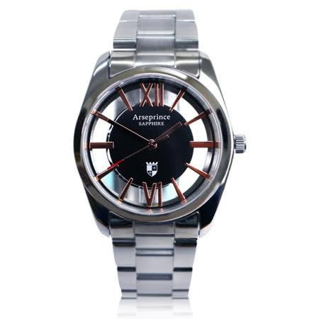 【Arseprince】羅馬假期雙面鏤空時尚中性錶-黑金