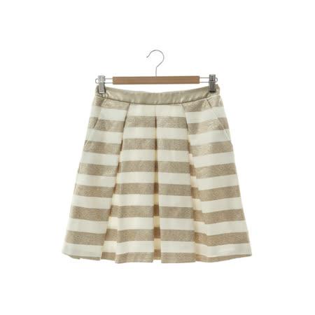 Jessica 時尚條紋褶子短裙-金白