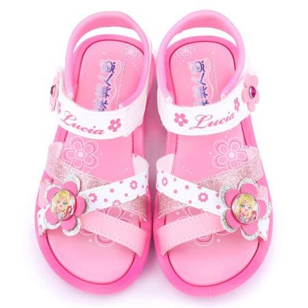 童鞋城堡-真珠美人魚 中大童 亮蔥小花造型涼鞋PI4264-粉