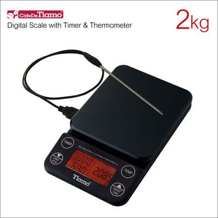 Tiamo KS-9005 計時感控電子秤(橘光版)-黑 2kg (HK0519BK)