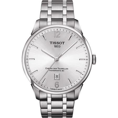 TISSOT 杜魯爾系列簡約機械動力80腕錶-銀/42mm/T0994071103700