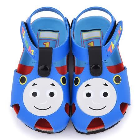 童鞋城堡-湯瑪士 中童 軟木風格造型涼鞋TH43024-藍