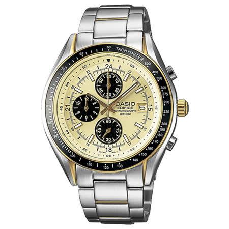 CASIO EDIFICE 縝密計畫計時賽車錶-金x黑