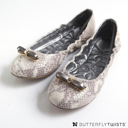 BUTTERFLY TWISTS - CAROLINE可折疊扭轉芭蕾舞鞋小羊皮款-蛇紋白