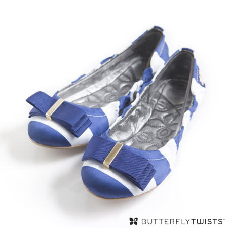 BUTTERFLY TWISTS - SLOAN可折疊扭轉芭蕾舞鞋-海軍藍/白條紋