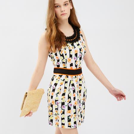 ICHE衣哲 縮腰拼接條紋印花洋裝
