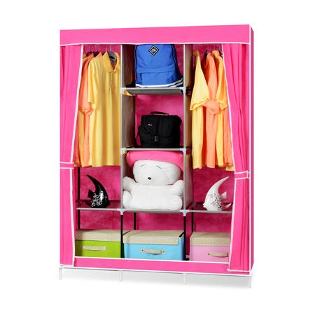 超大簡易DIY防塵衣櫃-粉色