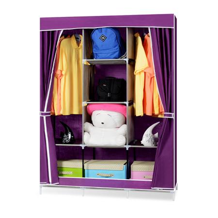 超大簡易DIY防塵衣櫃-紫色