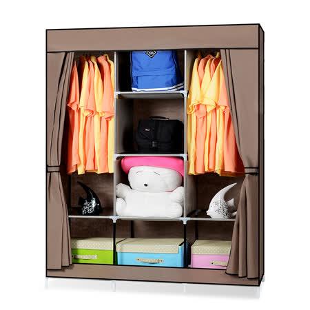 超大簡易DIY防塵衣櫃-咖啡色