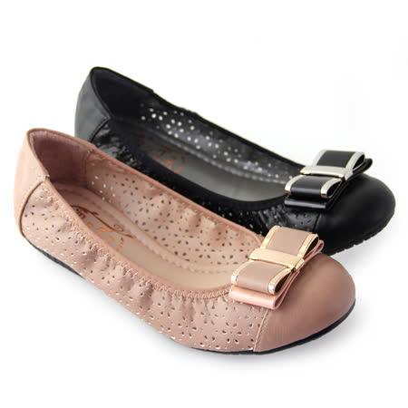 【Pretty】法式朵結雷射雕花鏤空平底娃娃鞋