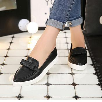 ALicE (預購)Y1095-9 簡約蝴蝶結休閒鞋 -黑