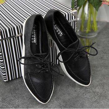 ALicE (預購)Y1098-9 英倫風時尚綁帶休閒鞋 -黑