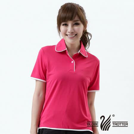 【遊遍天下】MIT台灣製女款抗UV涼爽吸濕排汗機能POLO衫S045玫紅