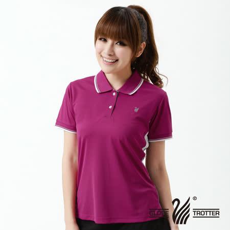 【遊遍天下】MIT台灣製女款抗UV涼爽吸濕排汗機能POLO衫S139紫紅