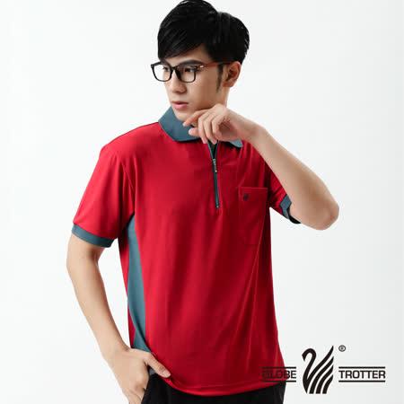 【遊遍天下】MIT台灣製男款抗UV涼爽吸濕排汗機能POLO衫SV037紅色