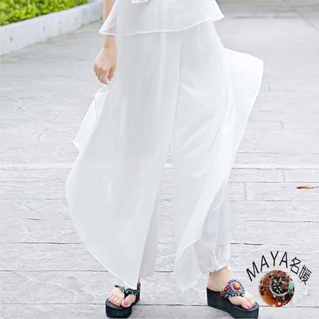 【Maya 名媛】M~L雪紡古典浪漫一夏彈性腰圍長褲-白色
