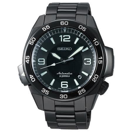 SEIKO PROSPEX 4R35 沉穩態度日期機械腕錶(IP黑/45mm) 4R35-00A0D 國際碼:SBDY003J