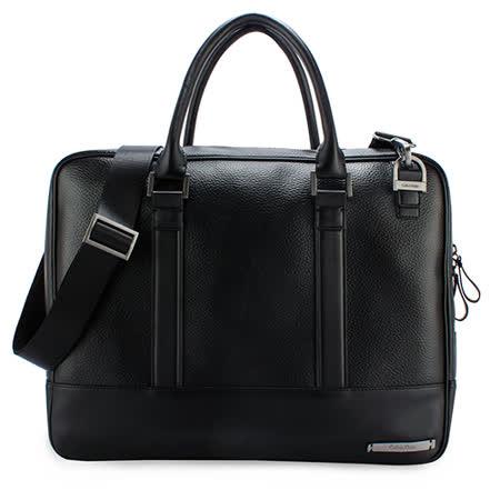 Calvin Klein 荔枝紋皮革手提斜背兩用公事包(黑色)