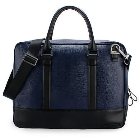 Calvin Klein 荔枝紋皮革手提斜背兩用公事包(藍色)