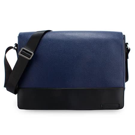 Calvin Klein 荔枝紋皮革掀蓋斜背包(藍色)