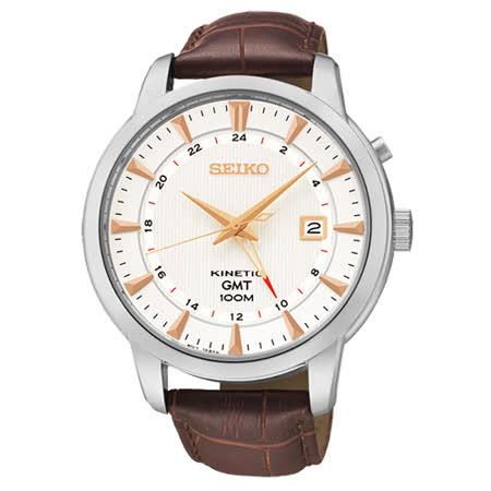 SEIKO 雙時區簡約男用皮帶腕錶-咖啡/44mm 5M85-0AC0S(SUN035P1)