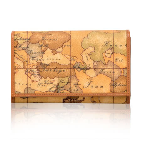 Alviero Martini 義大利地圖包 扣式16卡拉鍊零錢中長夾-地圖黃