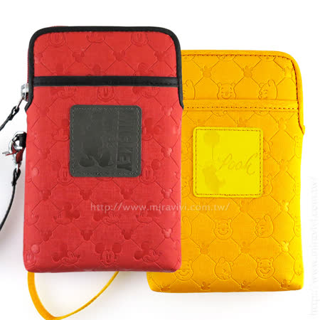 Disney 6吋通用質感雙層壓印皮革手機袋