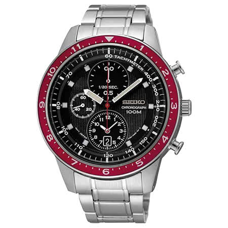 SEIKO 太陽之子 三眼計時腕錶-黑x紅框/銀 7T92-0RD0R(SNDF37P1)