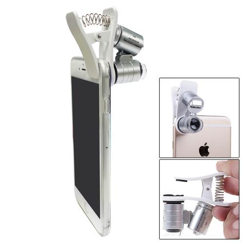 通用型iPhone顯微鏡60X放大微距鏡頭(LED+紫光驗鈔)