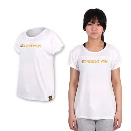 (女) NEWBALANCE 印花短袖T恤-NB 短T 棉T 慢跑 路跑 白金