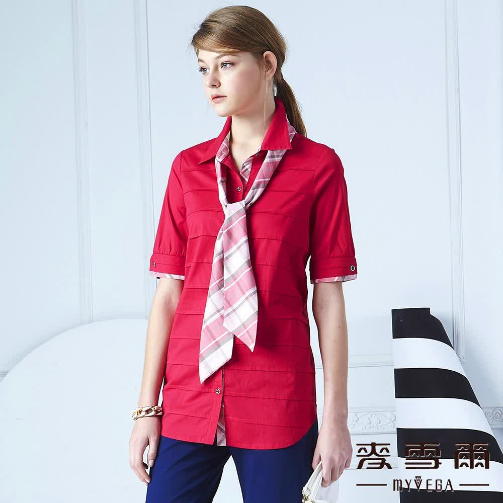 【麥雪爾】翻領橫紋裝飾壓摺棉質襯衫