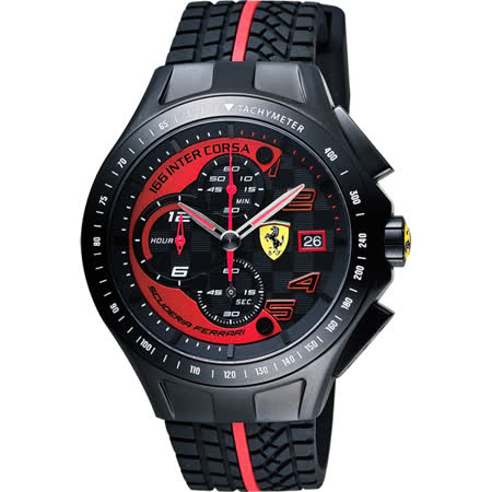 Scuderia Ferrari 法拉利 Race Day 計時手錶-黑/44mm 0830077