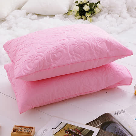 J-bedtime【愛情調色盤-初戀粉】枕頭專用-絕美壓紋保潔枕墊(2入)